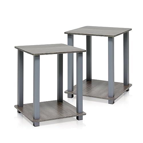 Furinno Simplistic End Table, French Oak Grey Grey