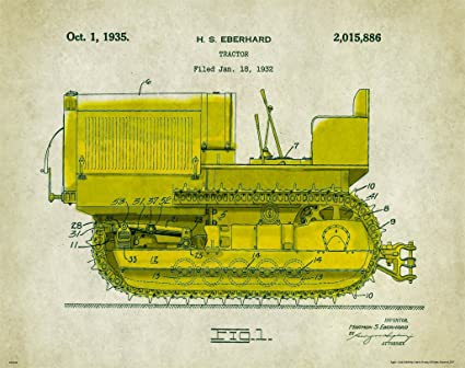 Amazon.com: Caterpillar Tractor Patent Poster Art Print 11X14 Wall ...
