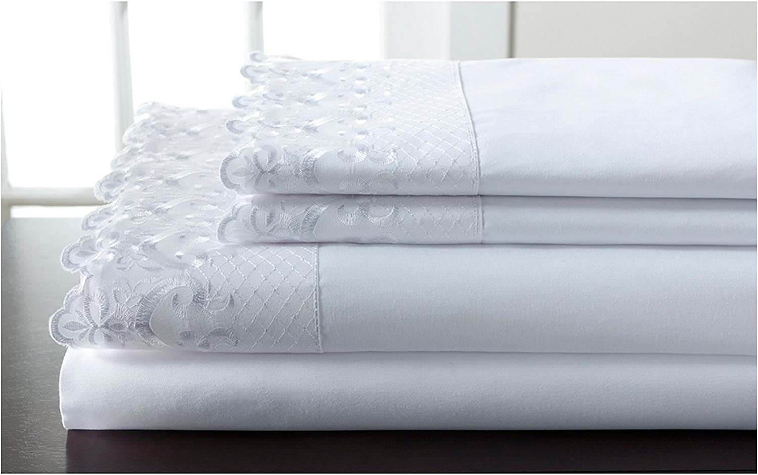 Elite Home Products Inc. Hotel Lace Microfiber Sheet Set, White, King