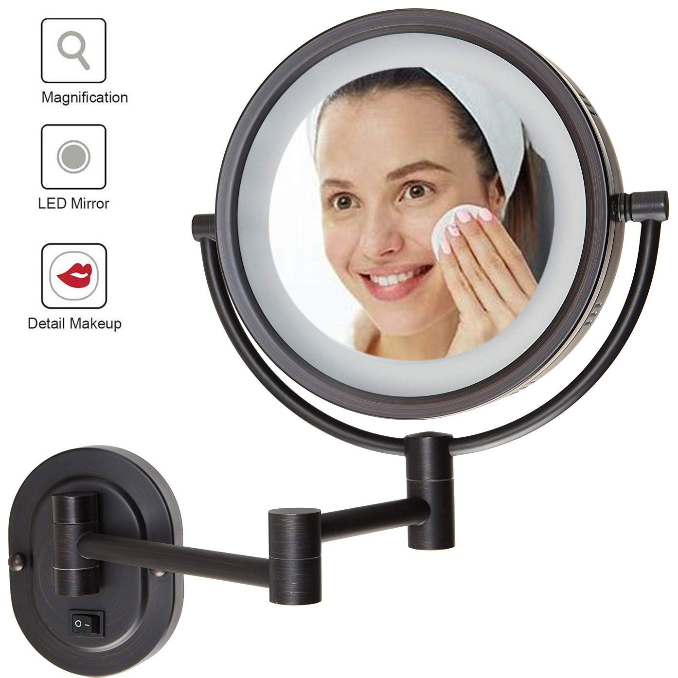 Wall Mount Makeup Mirror with Lights, Wall Mount Makeup Mirror Black, Bathroom Two Side 360 Swivel Cosmetic Face Mirror Extendable Vanity Mirrors Plug Powered 3x/5x,5X by LFSTY