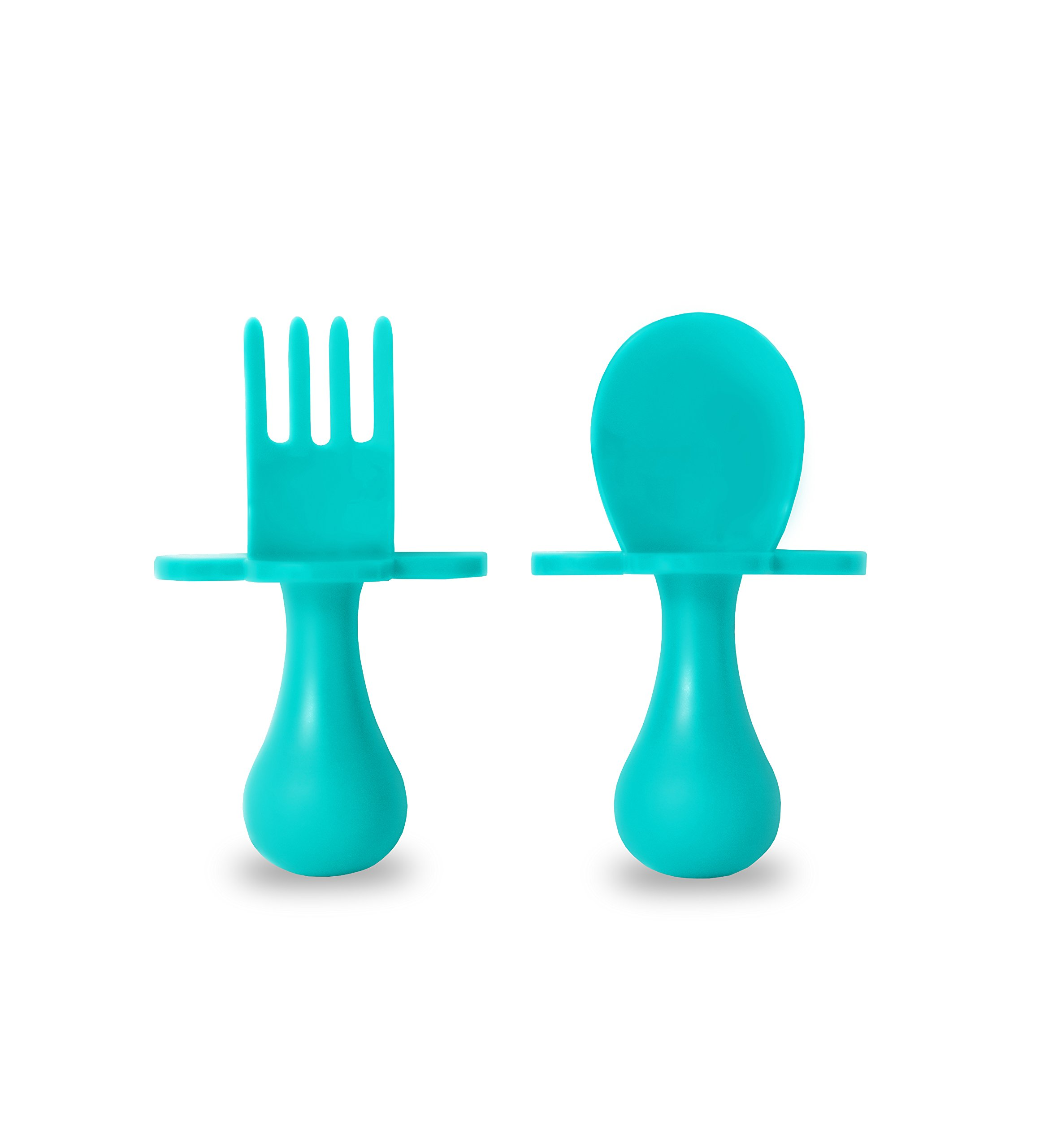 grabease First Self Feeding Utensil Set of Spoon and Fork for Toddlers (teal) BPA free. To Go pouch