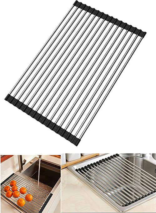 Roll-up Dish Drying Rack Multipurpose Foldable Stainless Steel ...