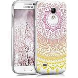 kwmobile Samsung Galaxy S4 Mini Cover - Custodia in Silicone TPU per Samsung Galaxy S4 Mini - Backcover Cellulare Giallo/Fucsia/Trasparente