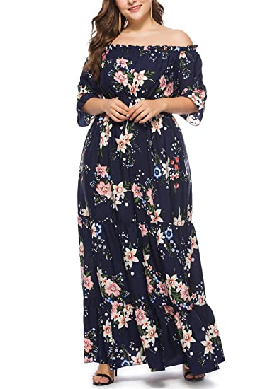 Plus Size Chiffon Floral Print Off Shoulder Summer Casual for Women Maxi  Formal Evening Party Dress