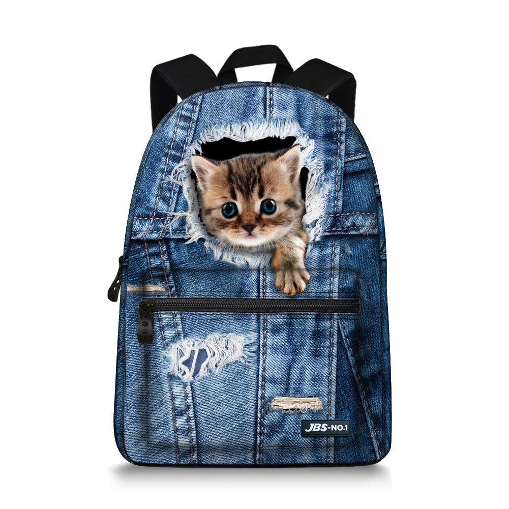 JBS-NO.1 ティーンガールズ用かわいい猫バックパック キャンバスブックバッグ 学校用  ブルー01 B07CTD1XSG