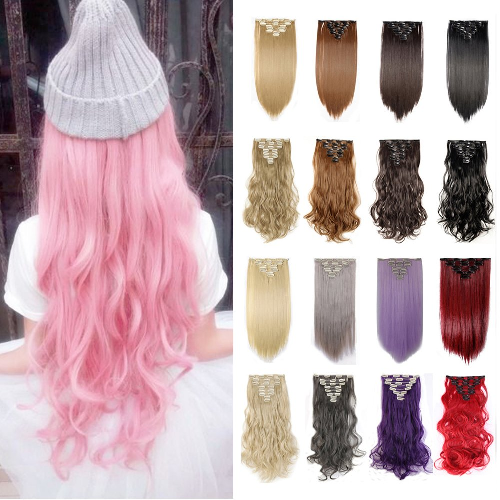 2-5 Days Delivery Clip in Hair Extensions 30colors Synthetic Hairpiece Straight Wavy Curly Full Head Highlight 8pcs Black Brown Blonde Grey Purple Pink White