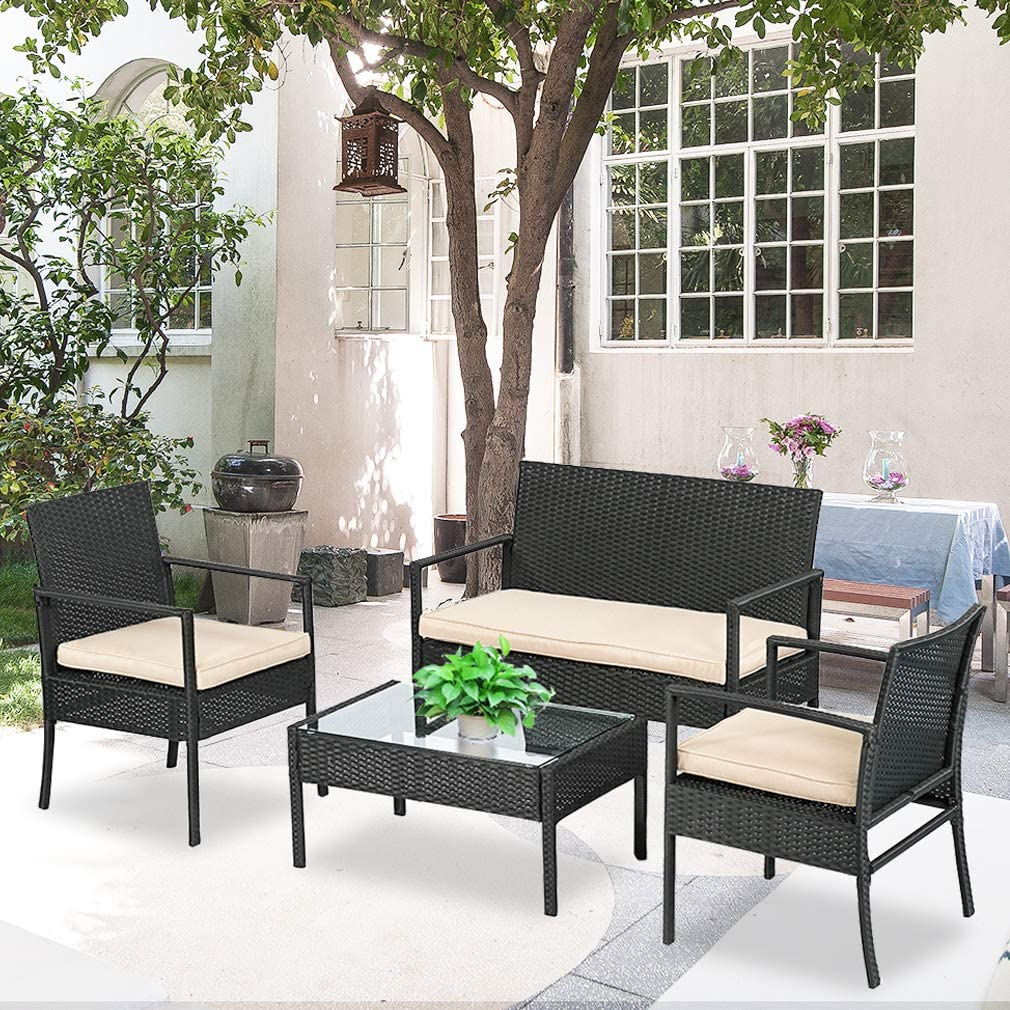 BestMassage Outdoor Wicker Patio Furniture Set 4 PC PE Rattan Chairs with Cushions Outdoor Garden Furniture Sets