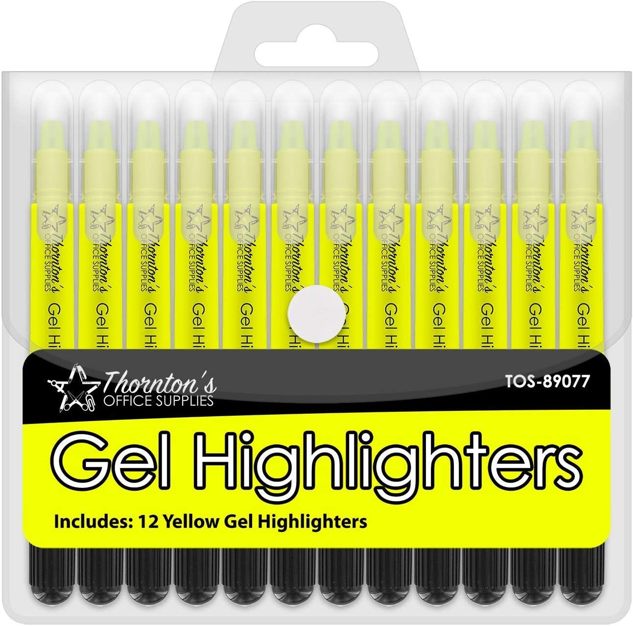 Thornton's Office Supplies School Twist-Retractable Bible Safe No Bleed Through Gel Highlighters Study Kit, Great For Journaling, Pack of 12 (Yellow)