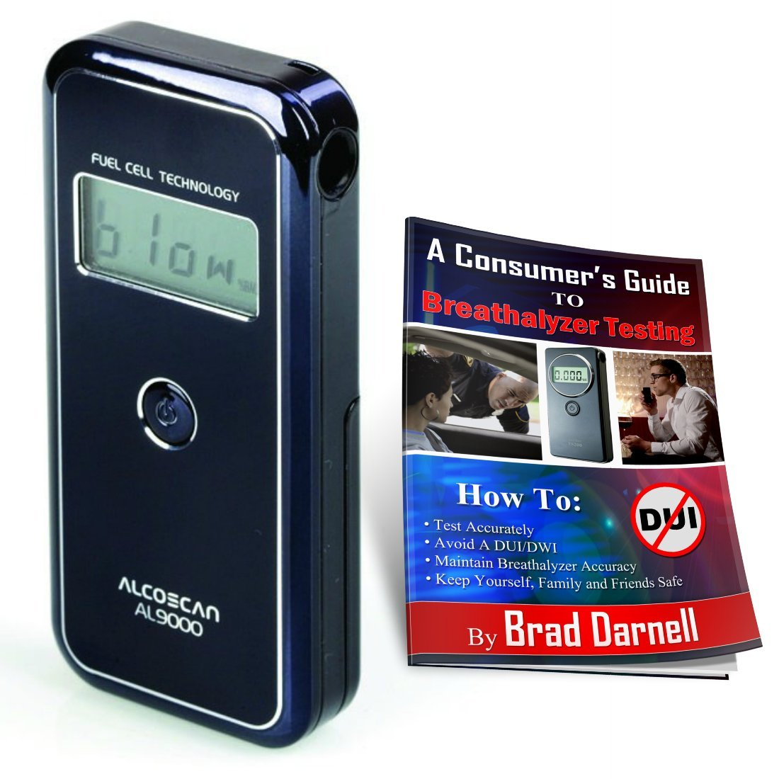 AlcoMate AccuCell AL9000 Alcohol Breathalyzer and FREE Breathalyzer Tester Guide - Wired Magazine ''Editors' Pick'' - Fuel Cell - FREE 2-3 Day Air Shipping!