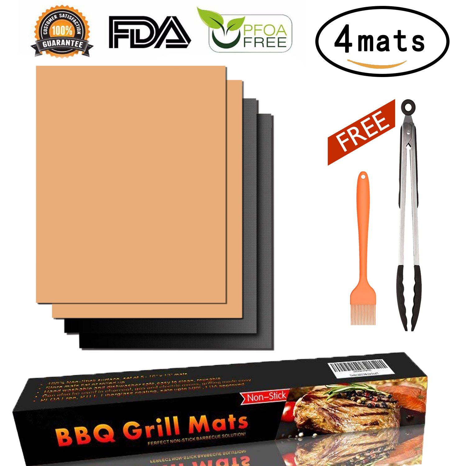 AUERVO Grill Mat Set of 4, BBQ Grill Mat Baking Mat Non Stick,FDA Approved,Reusable,Easy to Clean Barbecue Grilling Perfect for Gas, Charcoal,Electric Grills,Veggies With Silicone Tongs Brush