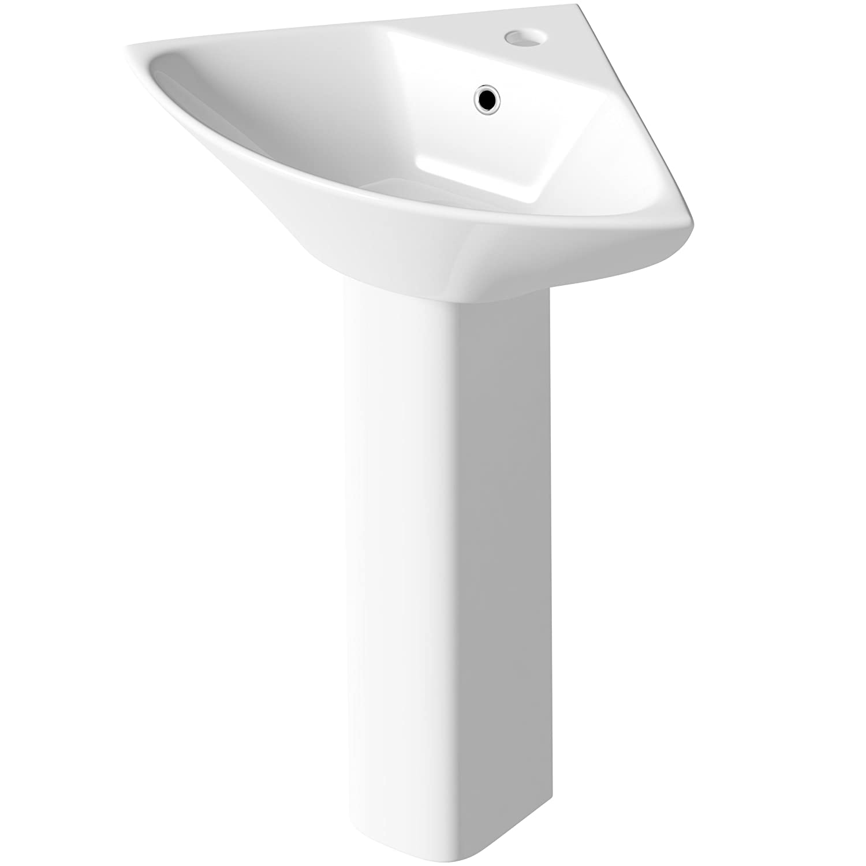 NCG152 - Carmela 450mm Corner Basin/NCG103 - Carmela Full Pedestal Pebble Grey