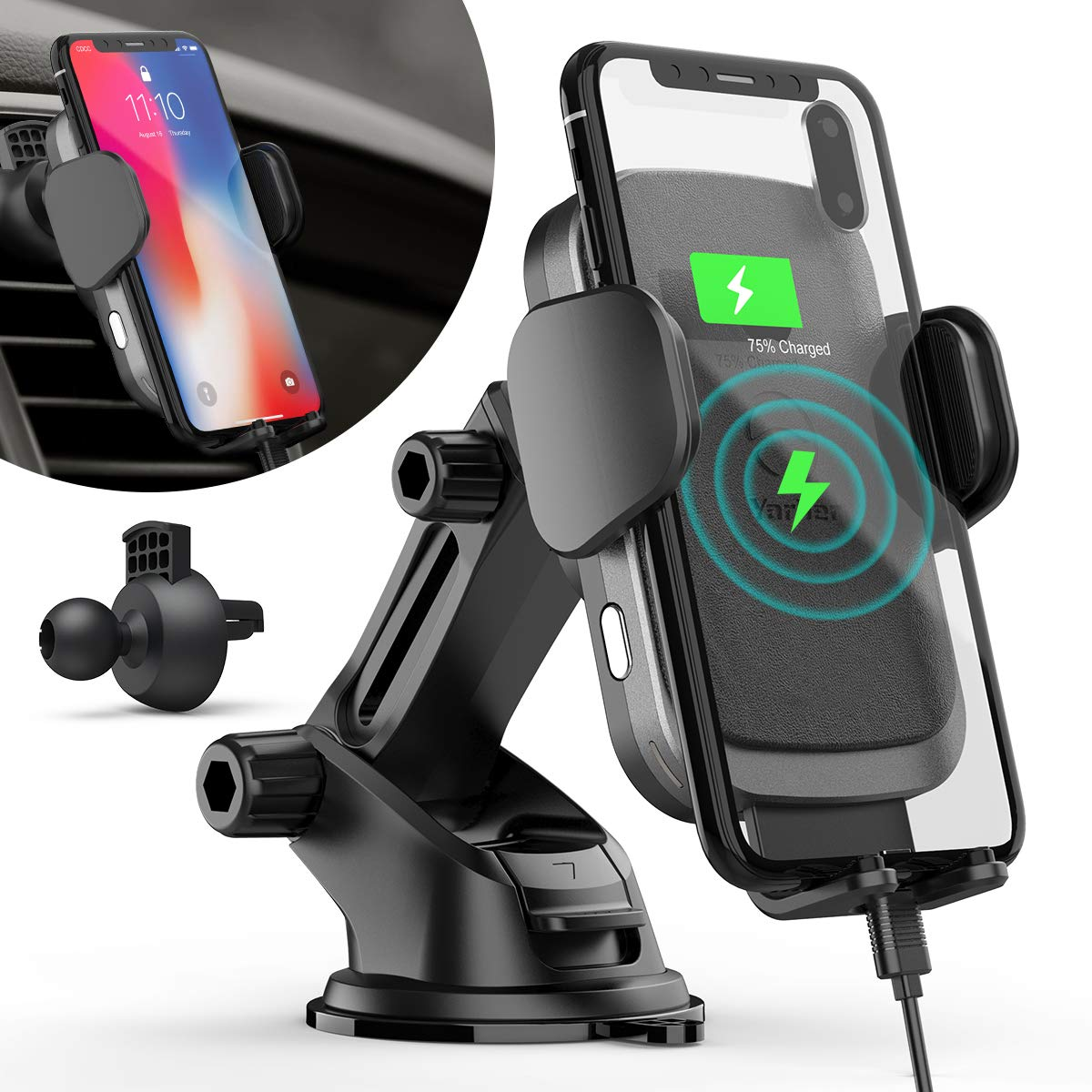 Wireless Car Charger Mount, 10W Fast Wireless Charger Touch Sensitive Qi Car Phone Holder, Phone Holder for Car Windscreen Air Vent for iPhone Xs Max/XR/X/8/8 Plus/Samsung S10/9/8