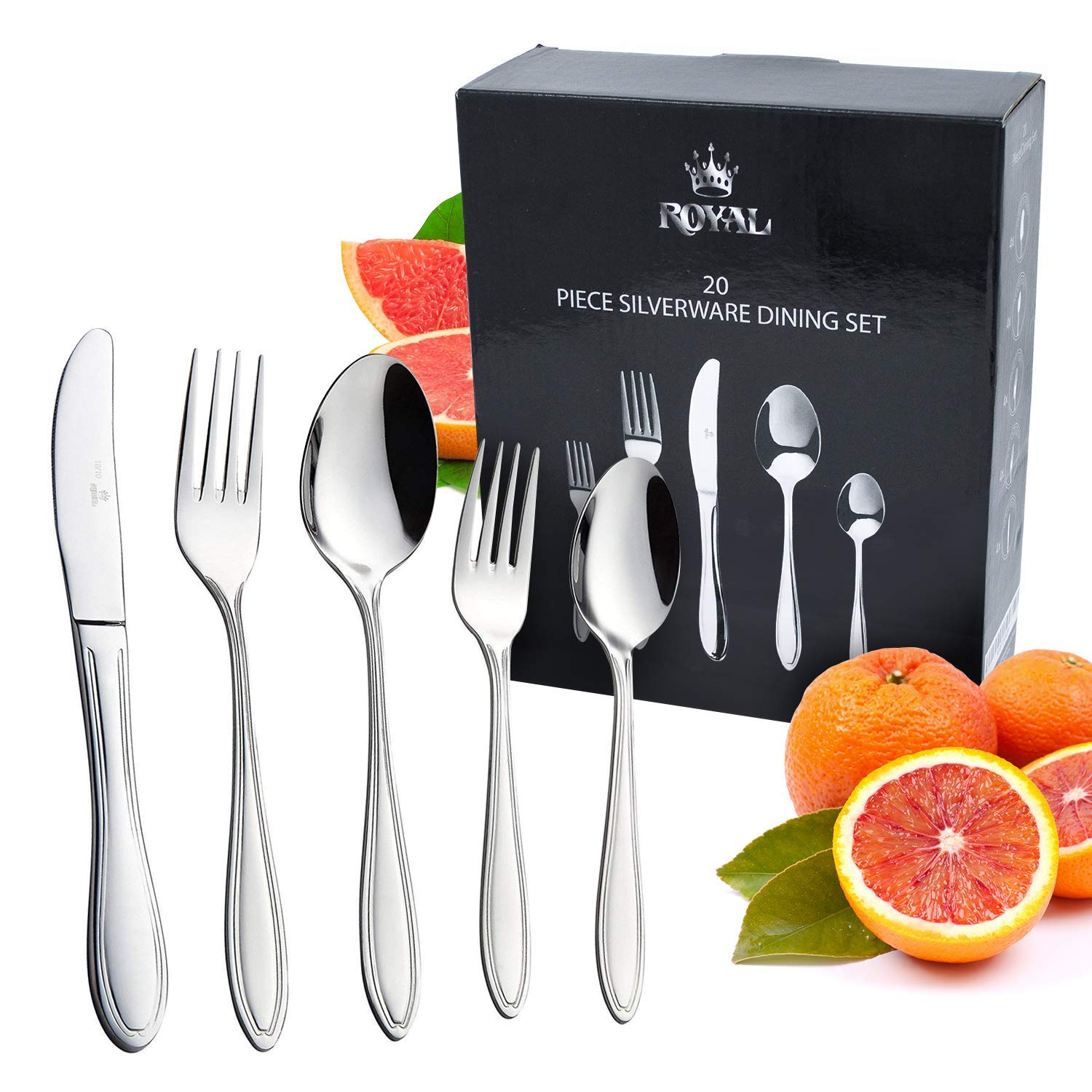 Royal 20-Piece Silverware Set - 18/10 Stainless Steel Utensils Forks Spoons Knives Set, Mirror Polished Cutlery Flatware Set Equinox Int RYL-20PC-B