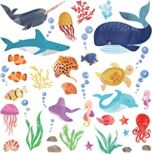Watercolor Ocean Creatures/Under The Sea Fish Wall Decor/Peel & Stick Wall Art Stickers Decals for Kids Room/Nursery/Living Room/Playroom/Classroom