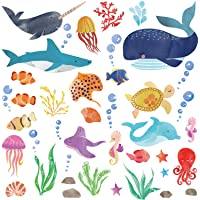 Watercolor Ocean Creatures/Under The Sea Fish Wall Decor/Peel & Stick Wall Art Stickers Decals for Kids Room/Nursery…