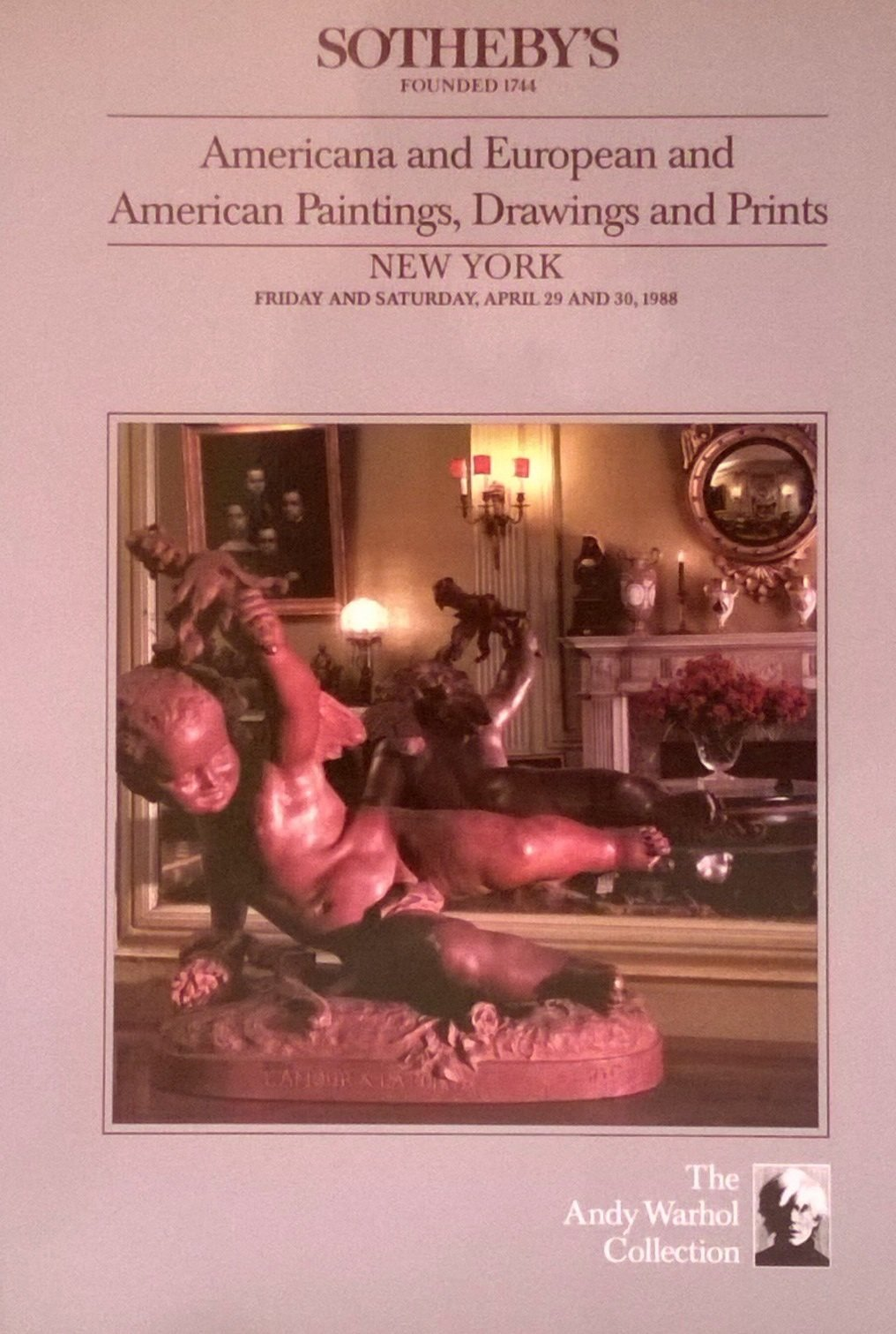 sothebys sale 6000 americana and european paintings drawings and prints andy warhol collection april 29 30 1988