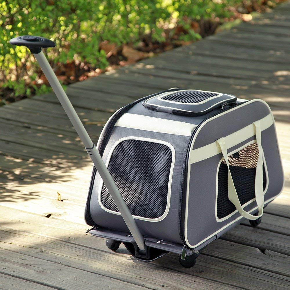 LLYU Pet Trolley with Telescopic Handle, Portable Large Dog cat Carrier Travel Bag with Wheels