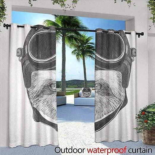 Tim1Beve Cortina de Puerta corredera con diseño de Animales, para Patio, Porche Frontal, Color marrón, Rosa pálido, Azul: Amazon.es: Jardín