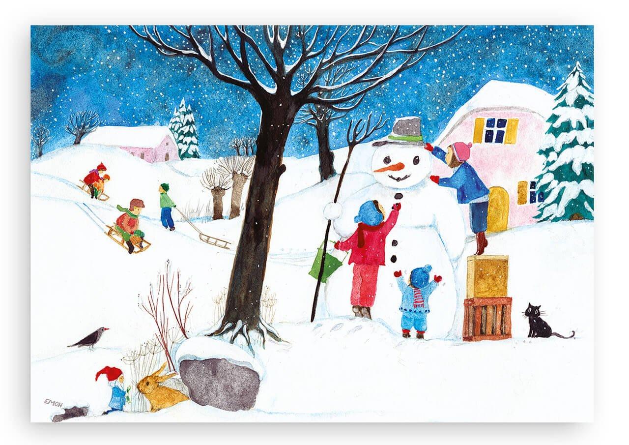 Winterbild Schneemann bauen illustriert von E.M.Ott-Heidmann in DIN A2- schnurverlag 331