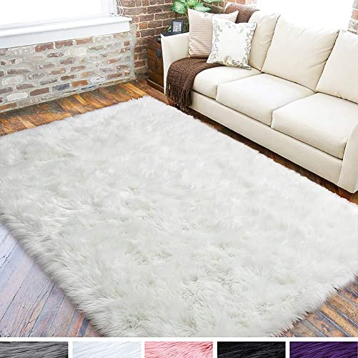 LOCHAS Ultra Soft Fluffy Rugs Faux Fur Sheepskin Area Rug for Bedroom Bedside Living Room Carpet Nursery Washable Floor Mat, 5×8 Feet White