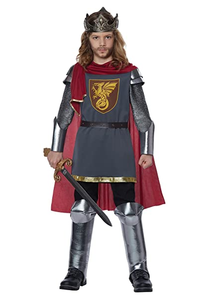 California Costumes Knight Armor Medieval King Arthur Boys Costume,  Silver/Red, Small/