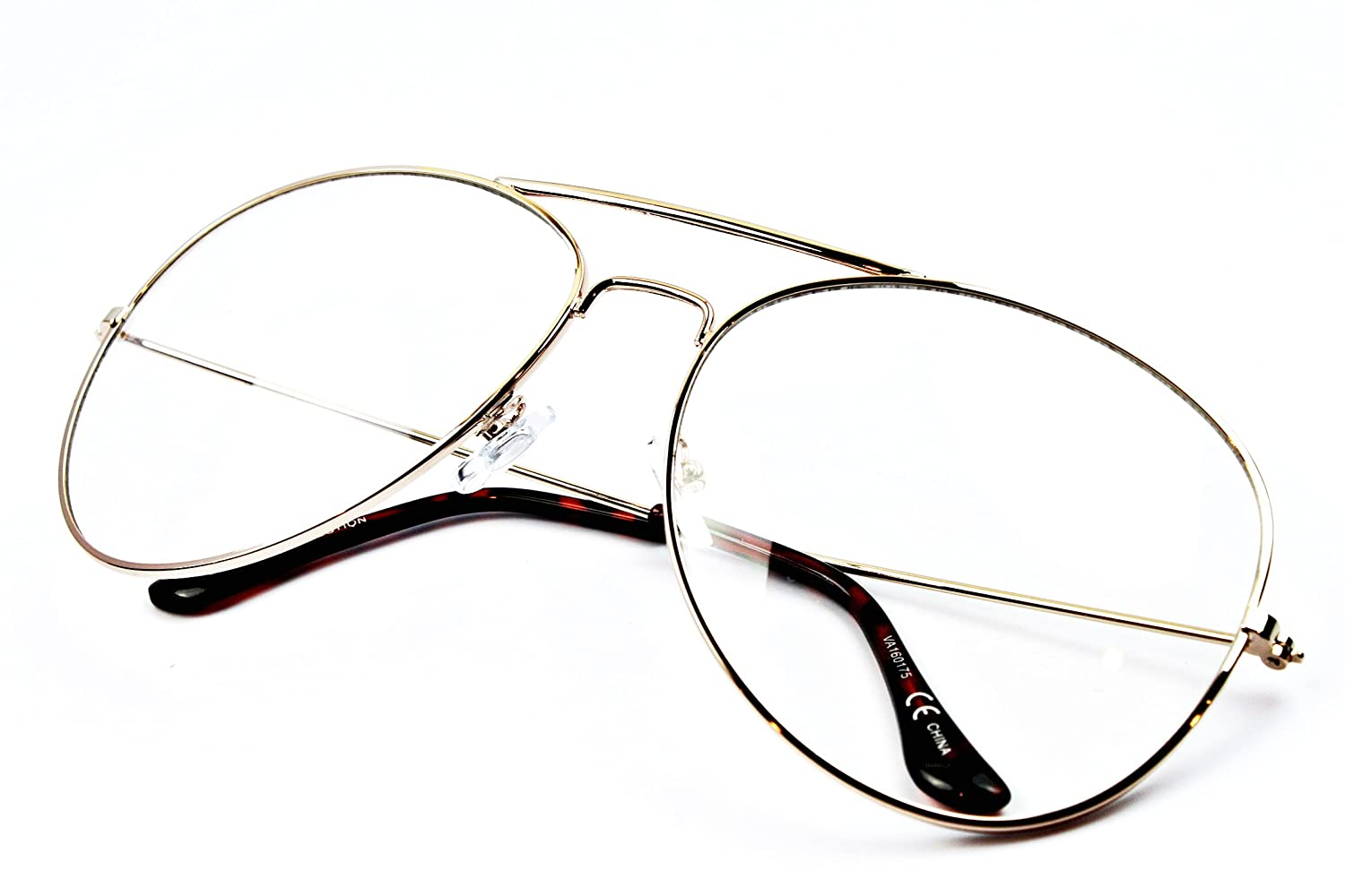 A3068 Oversize X-large Clear Lens Metal Aviator Glasses
