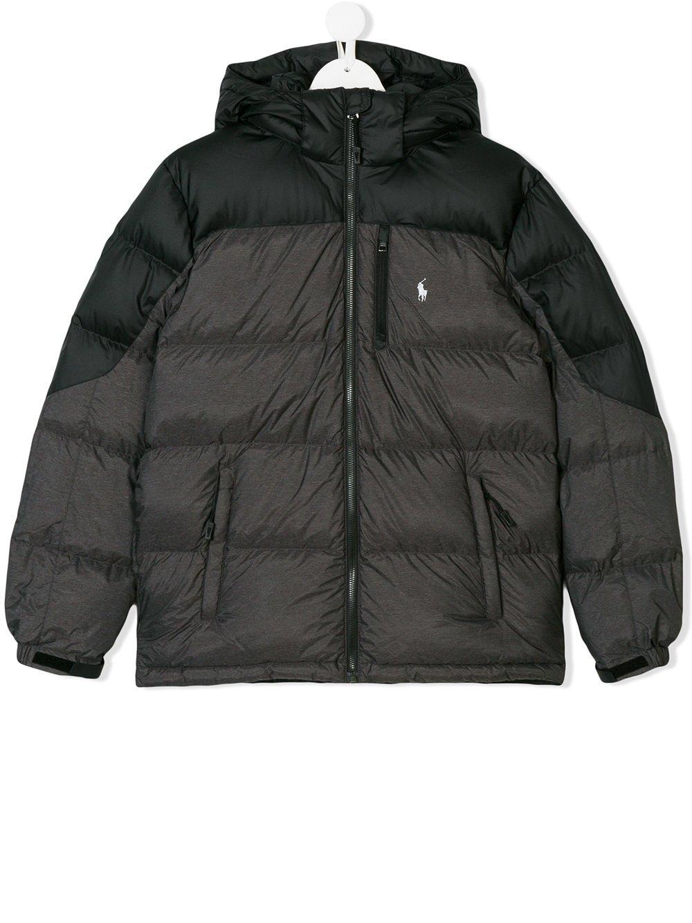 RALPH LAUREN Boy's Down Puffer Coat (Black/Grey, Large (14-16)) by RALPH LAUREN