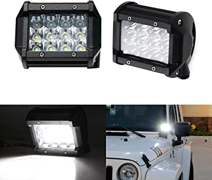 4X 4inch LED Work Light Pods 3-Rows Spot Flood Offroad Reverse ATV Driving Cube