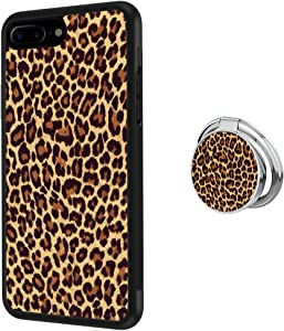 ZacharyMarcus Designed Leopard Print iPhone 7 Plus 8 Plus Case with Buckle Ring 360° Rotatable Silvery Durable Ring Buckle, TPU Black Antiskid Tread Phone Case for iPhone 7 Plus 8 Plus