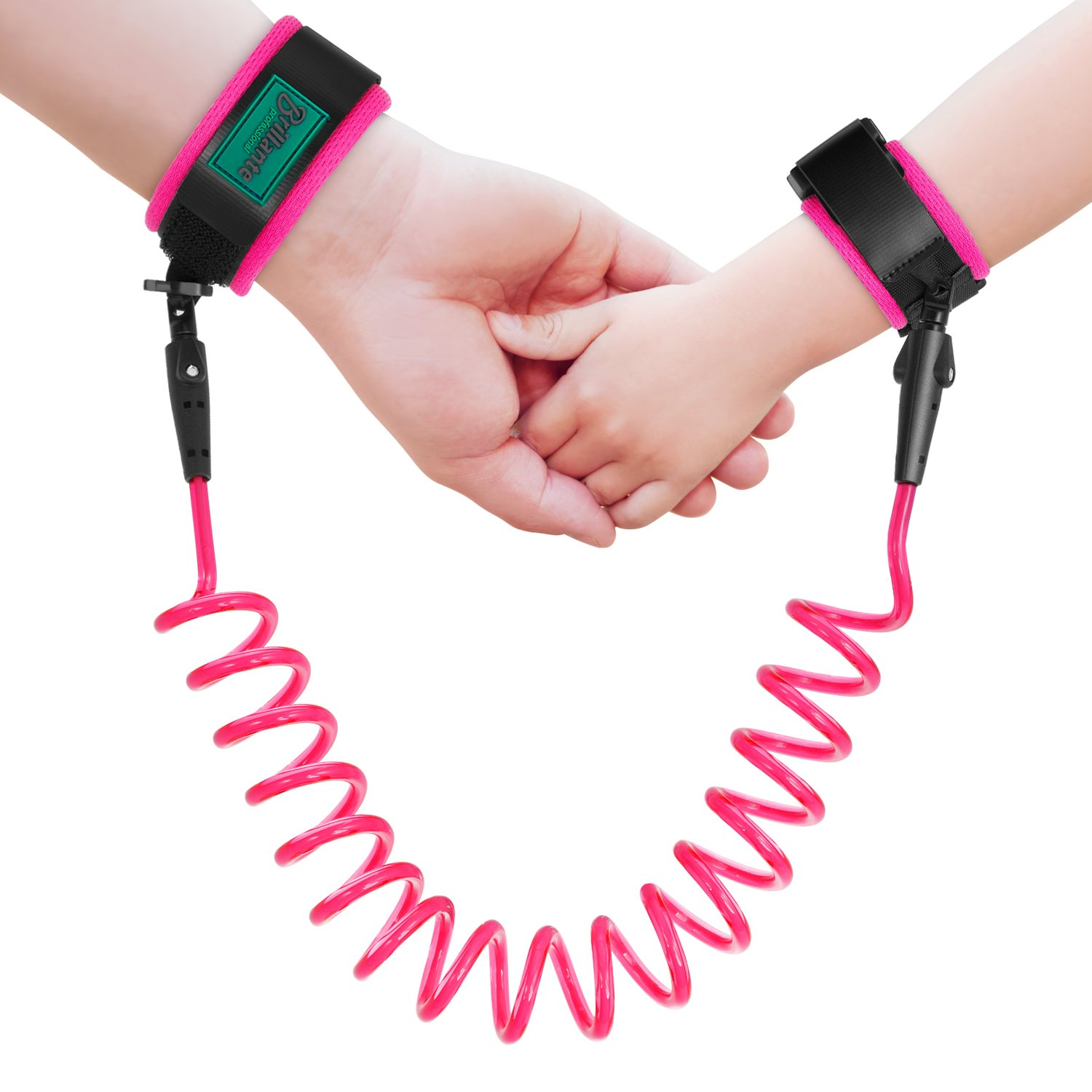 Brillante Anti Lost Wrist Link Child Wrist Strap Safety Toddler Harness Wrist Strap for Children, Leash for Kids, Toddlers, Babies, 1.5M (Pink) BFD-01