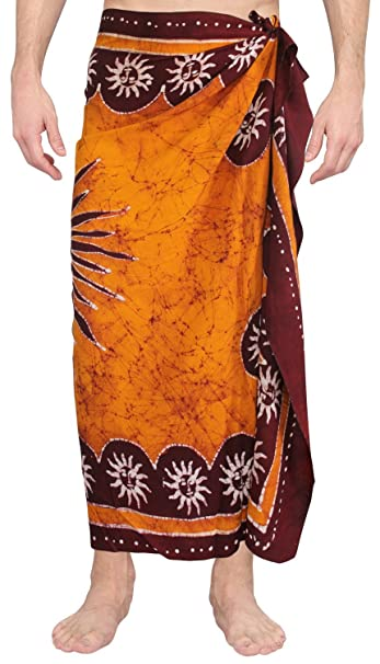 971b3c01e9 LA LEELA Hand Batik Beachwear Mens Sarong Pareo Cover ups Wrap Beach  TowelUnisex at Amazon Men's Clothing store: