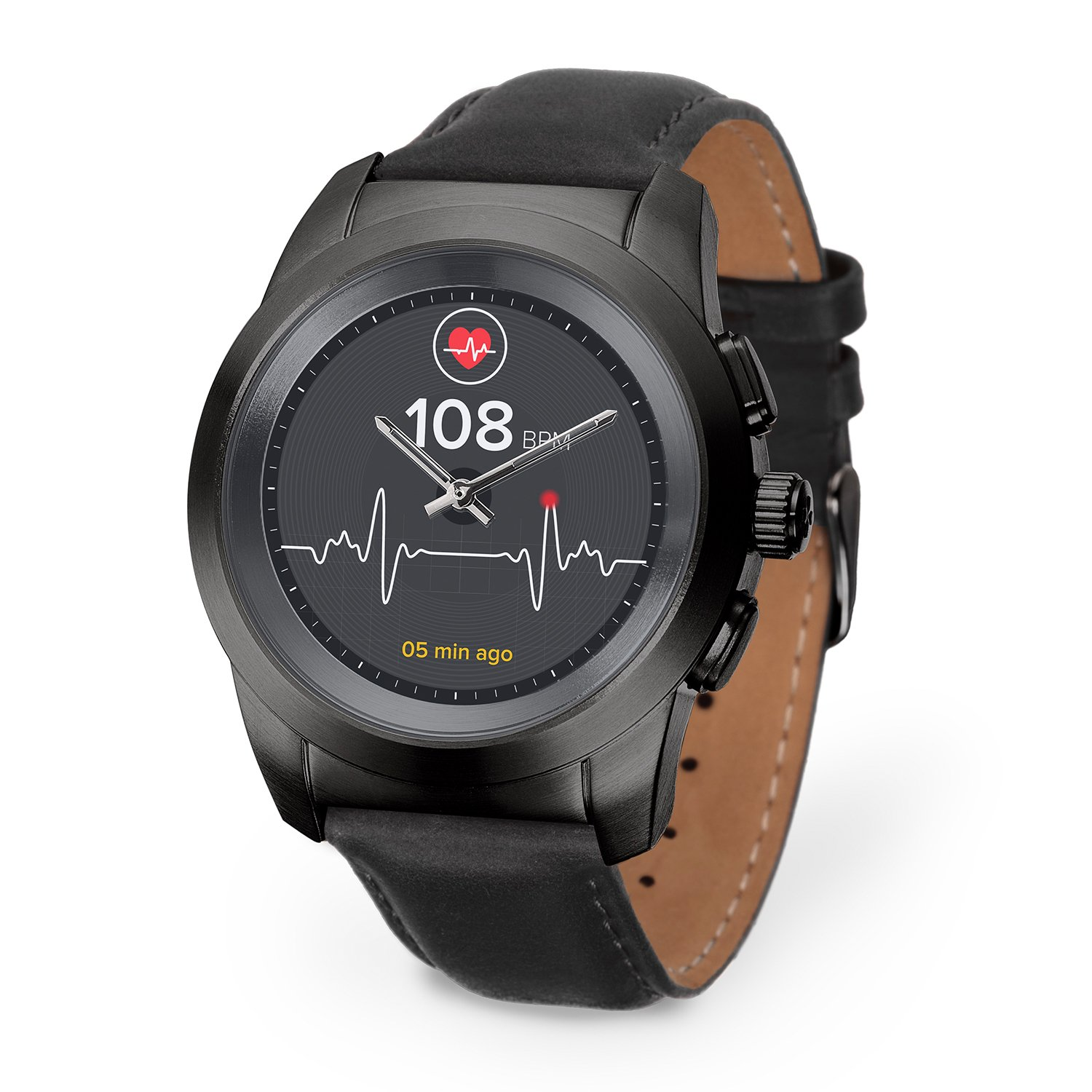 MyKronoz ZeTime Premium Hybrid Smartwatch 44mm with mechanical hands over a color touch screen – Brushed Black / Black Flat Leather