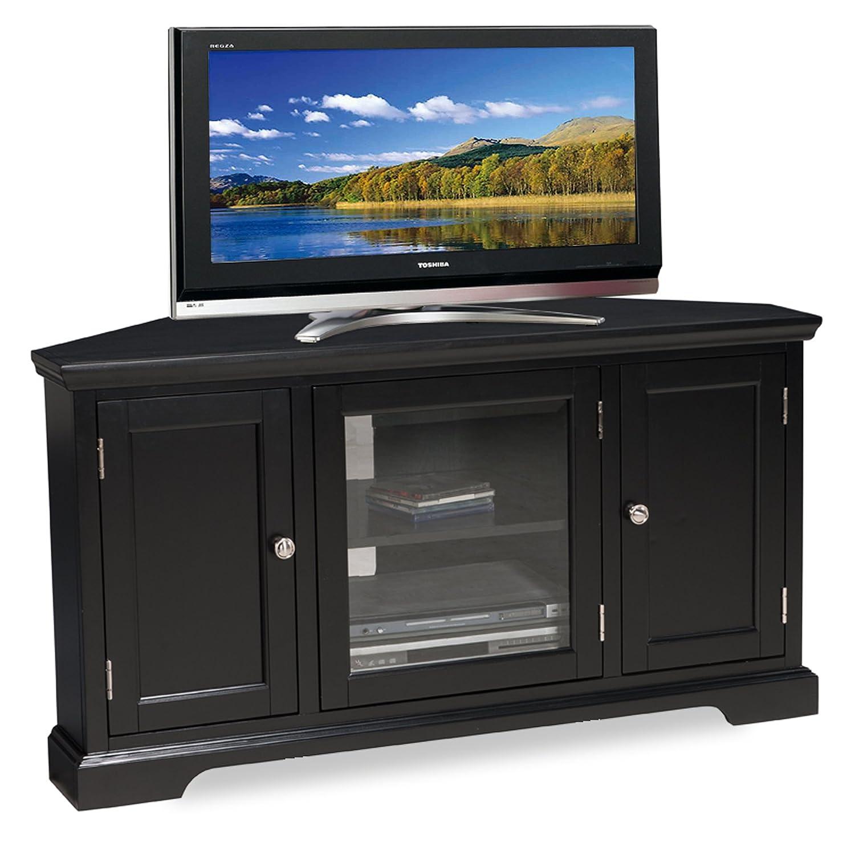 amazoncom leick black hardwood corner tv stand inch kitchen  - amazoncom leick black hardwood corner tv stand inch kitchen  dining