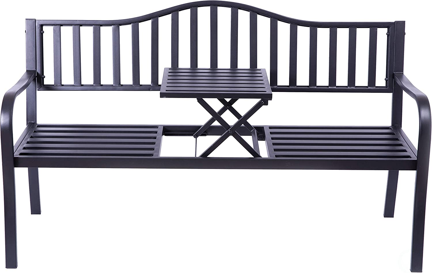 Gardenised QI003461L Powder Coated Black Steel Patio Garden Park Yard Bench with Middle Tab