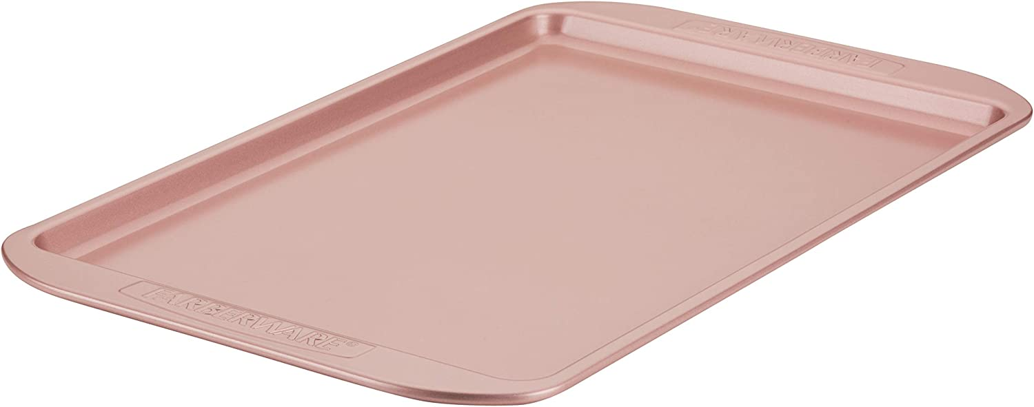 Farberware 47774 Nonstick Bakeware, Nonstick Cookie Sheet / Baking Sheet - 10 Inch x 15 Inch, Rose Gold Red