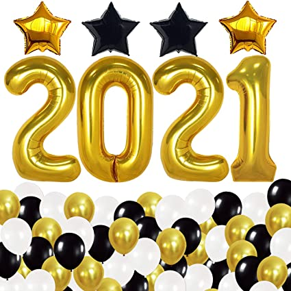 Grad Party Decoration Supplies Class 2020 Graduation Party Tinsel Balloon Centerpieces Weights Pack of 4 Colors: Black, White, Golden, Silver