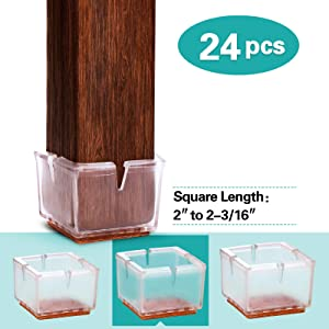 MelonBoat Extra Large Chair Leg Floor Protectors with Felt Furniture Pads, Chair Glides Table Feet Caps, A-SQ052, 24 Pack, Fit Square Length 2 inches to 2-3/16 inches (5-5.5cm)