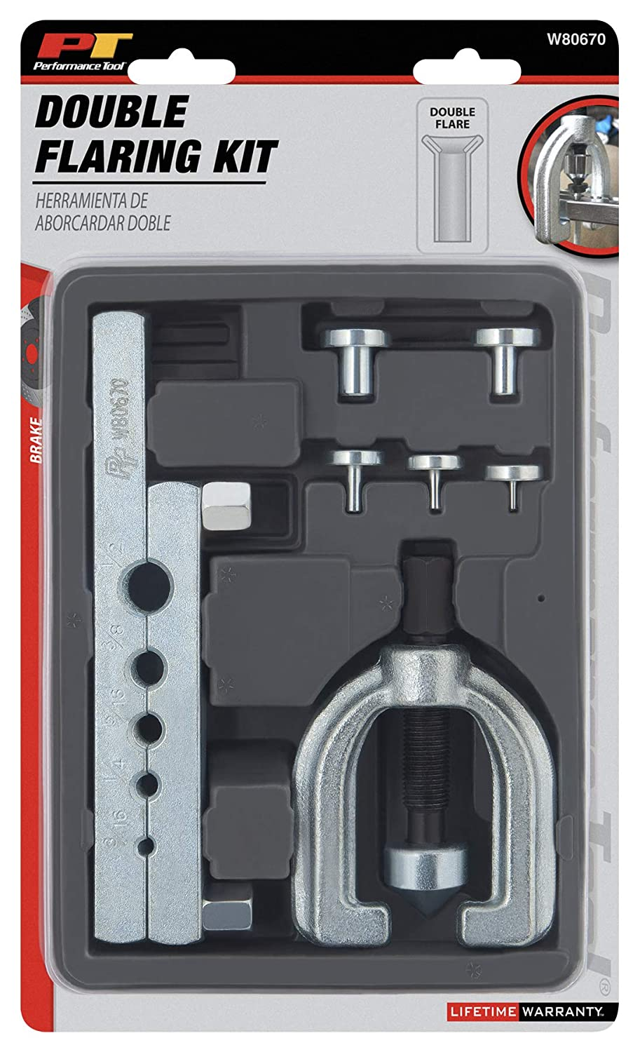 Performance Tool W80670 Double Flare Tool Set 7-Piece