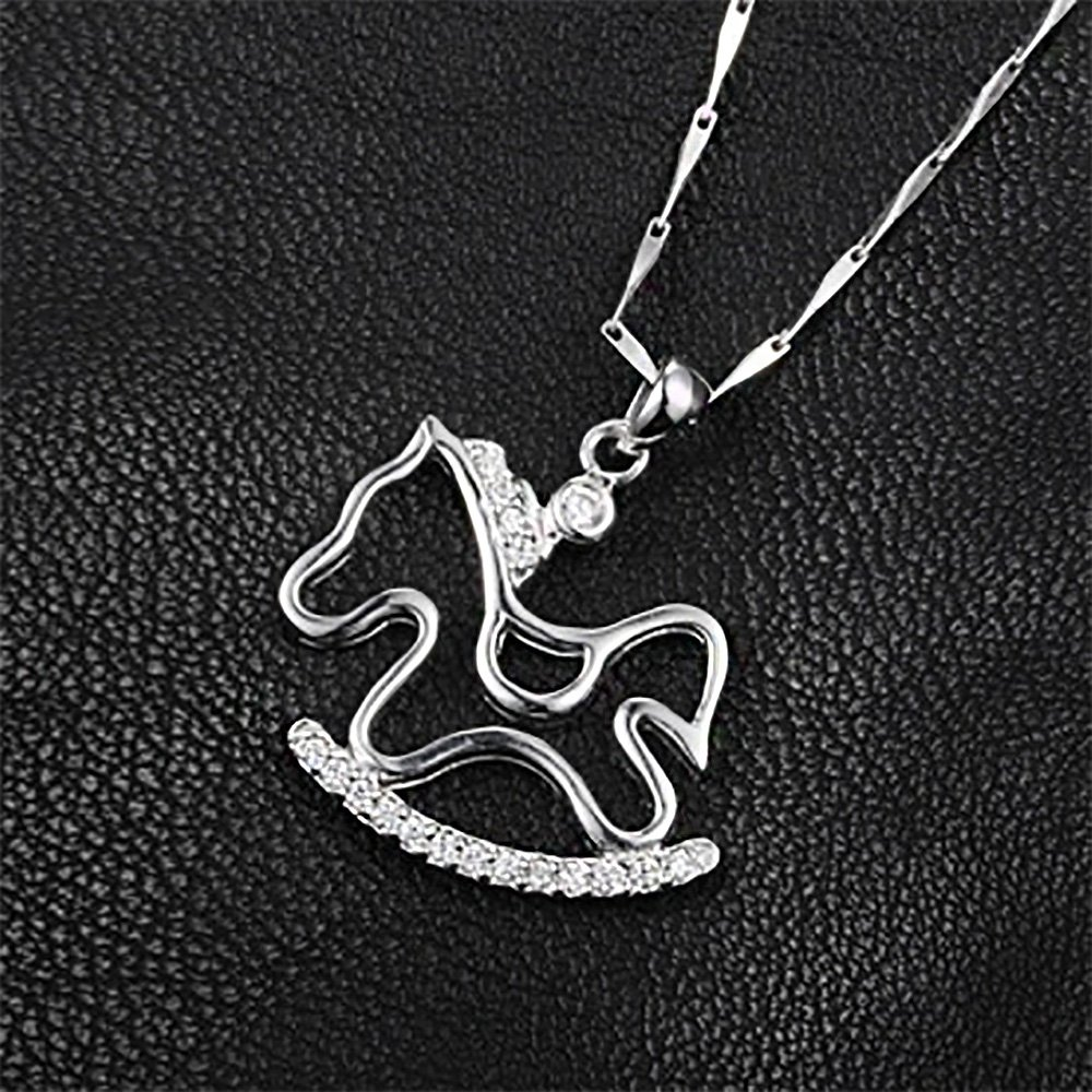 Glamorousky 925 Sterling Silver Pony Pendant with Austrian Element Crystal and Necklace 24998