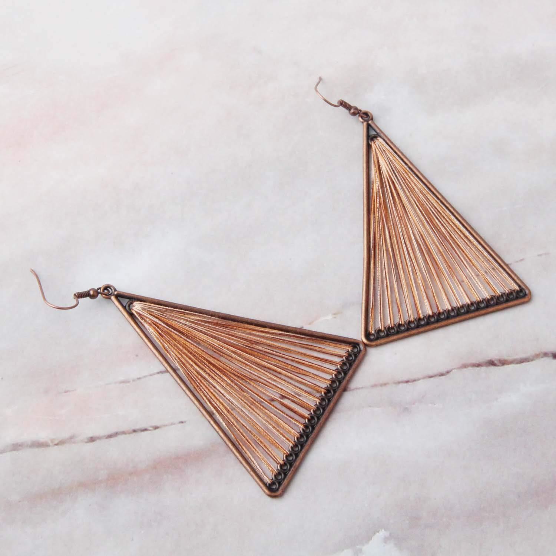 KUIYAI Native Triangle Peruvian Thread Earrings Woven Earrings