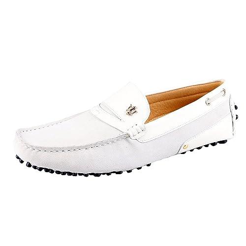 Santimon Hombre Cuero Conducción Los Mocasines de Trabajo Zapatos de los Holgazanes Blanco 44: Amazon.es: Zapatos y complementos
