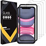 EGV 4 Pack Screen Protector for iPhone 11/ iPhone XR 9H HD Clear Tempered Glass, Case Friendly, Alignment Frame Easy Installa