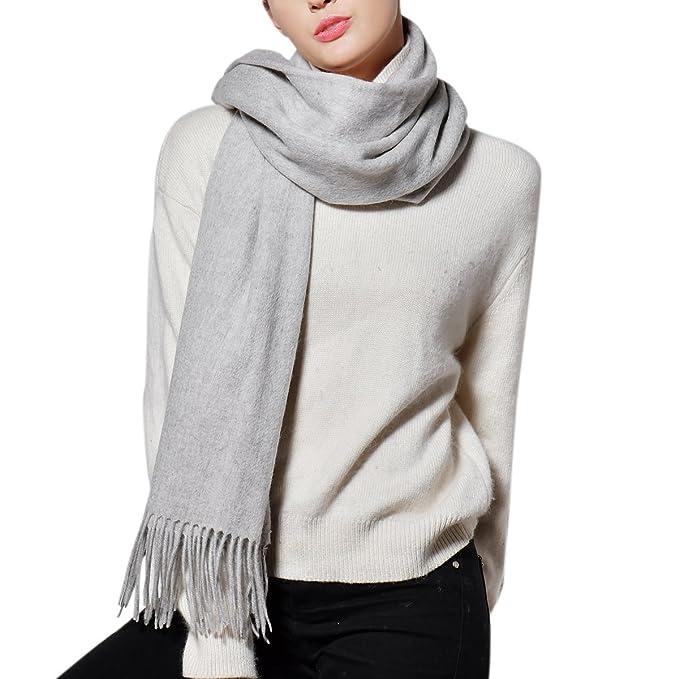 Sciarpe di lana per donna- 12 x 70 Inch 100% lana di agnello Super Soft  Solid Cashmere Feel Sciarpa scialle  Amazon.it  Abbigliamento 3f2a9a3a14a0