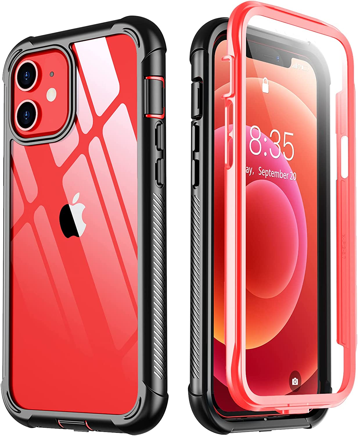Temdan for iPhone 12 Case iPhone 12 Pro Case with Built-in Screen Protector, Military Drop Grade Shockproof Clear Cover 360 Full Body Protective Phone Case for iPhone 12/12 Pro 6.1 inch -Red/Black