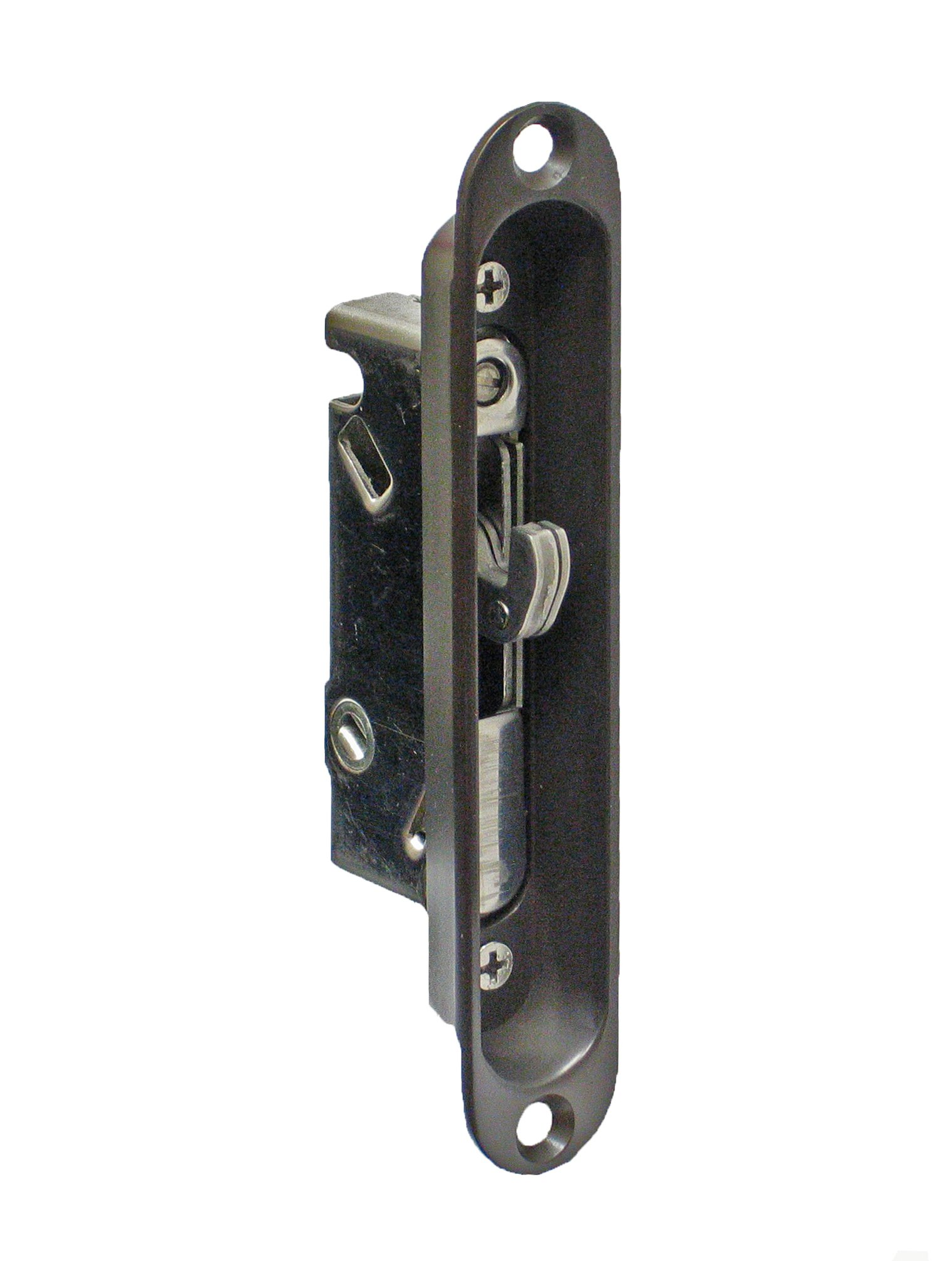 """FPL #3-45-SS Sliding Glass Door Replacement Mortise Lock with Recessed Adapter, 5-1/4"""" Screw Holes, 45 Degree Keyway, Stainless Steel- Oil Rubbed Bronze Finish"""