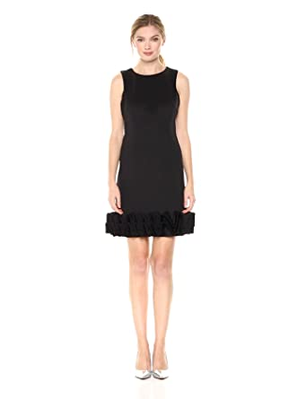 Nicole Miller New York Womens Sleeveless 3d Ruffle Hem Shift Dress