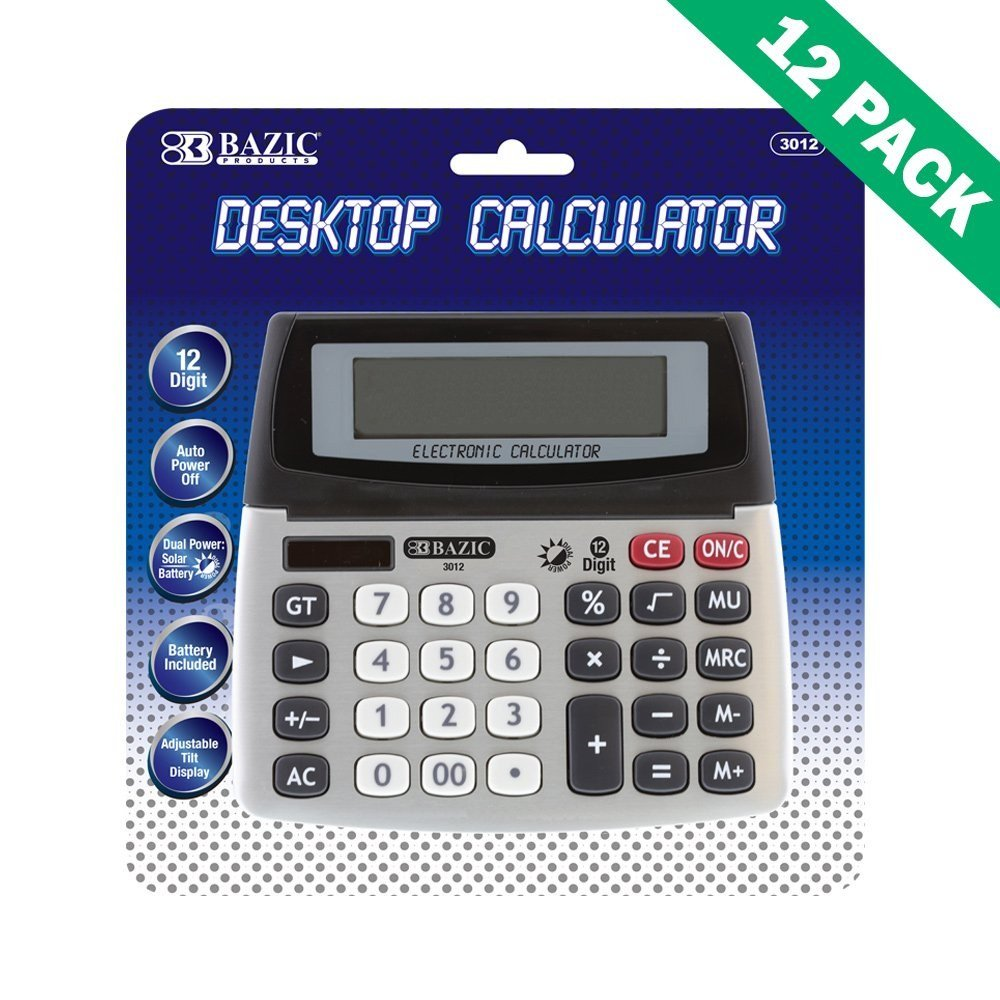 Calculator Desktop, School Office Desk Calculator 12-digit (12 Unit Case)
