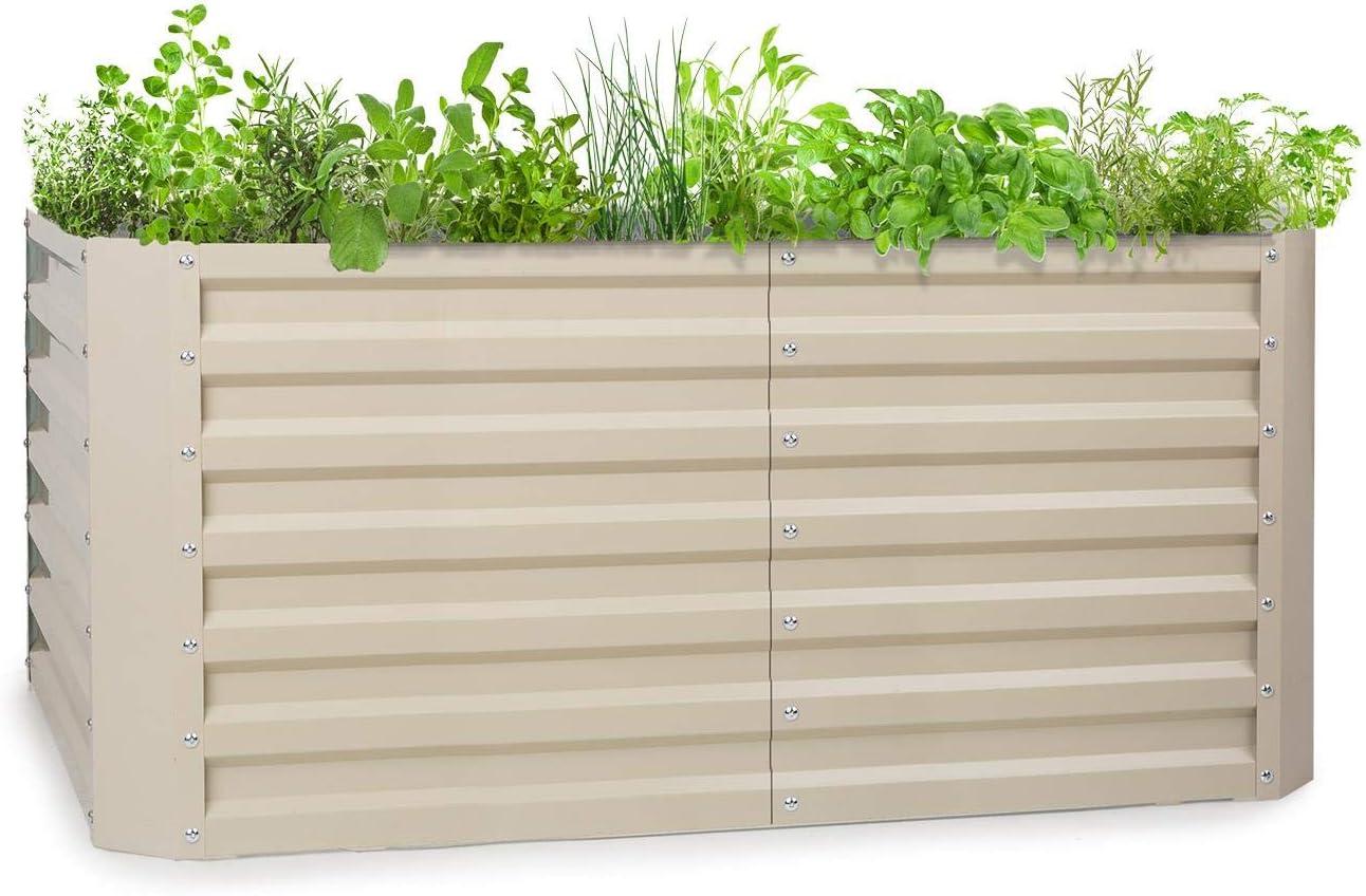 blumfeldt High Grow Straight - Macetero, Protección contra óxido, Acero galvanizado de 0,6 mm (Ø), 4 Barras de protección, Resistencia Intemperie, Volúmen de 432 L, 120 x 60 x 60 cm, Beige