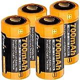 4x CR123 A Li-ion Akku mit 3,7 Volt, 760mAh Kapazität inkl. AkkuBox ideal für Überwachungskamera Arlo, LED-Taschenlampen