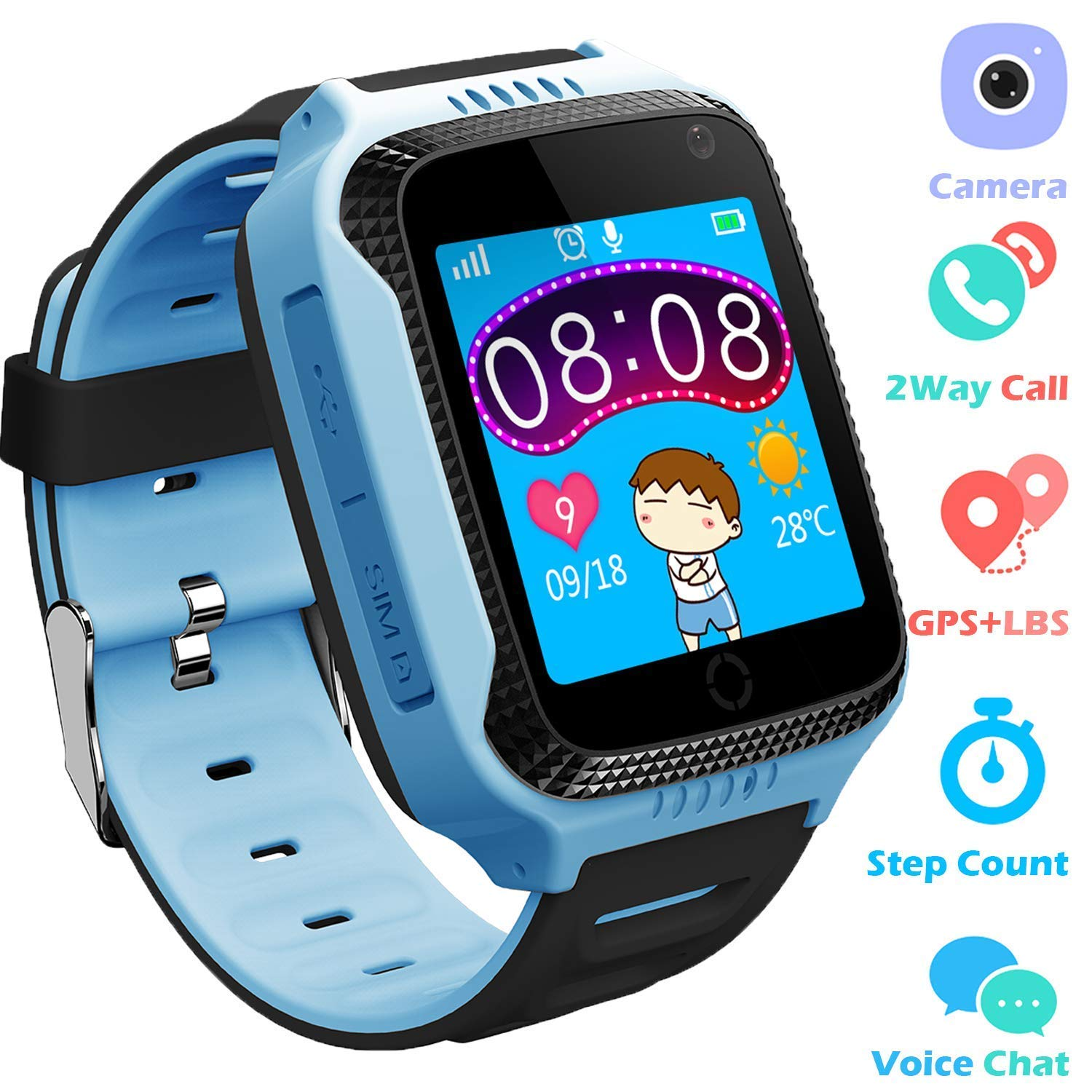Kids Smartwatches for Boys Girls - GPS Fitness Tracker Watch for Children with Game Phone SOS Voice Chat Alarm Clock Camera Flashlight Children Birthday ...